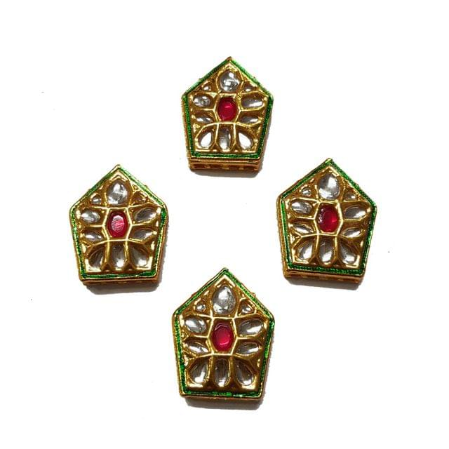 4pcs, 28x22mm Kundan Spacer