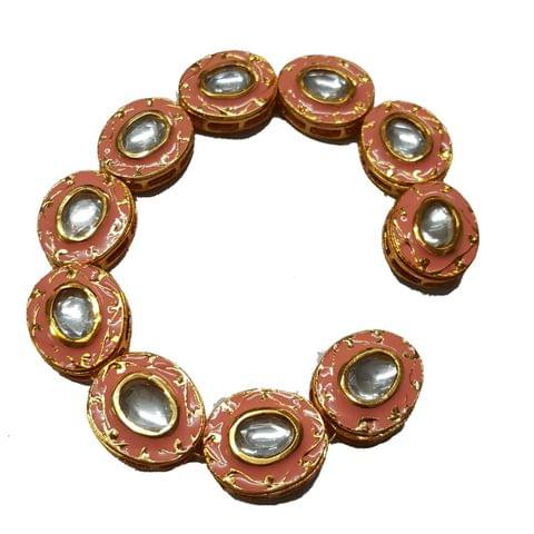 10pcs, 18x21mm Kundan Meenakari Chain
