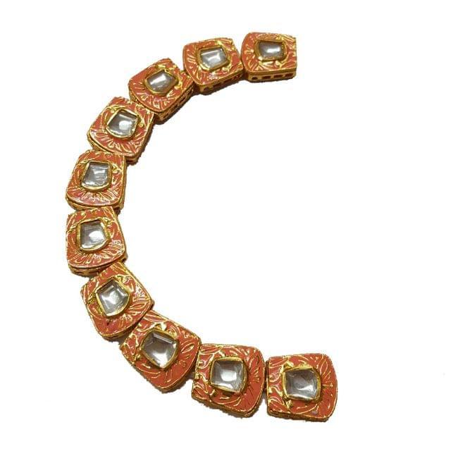 10pcs, 18x20mm Kundan Meenakari Chain