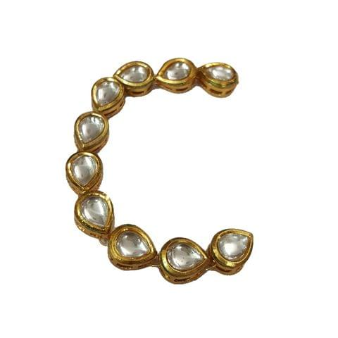 10pcs, 10x12mm Kundan Long Oval Chain