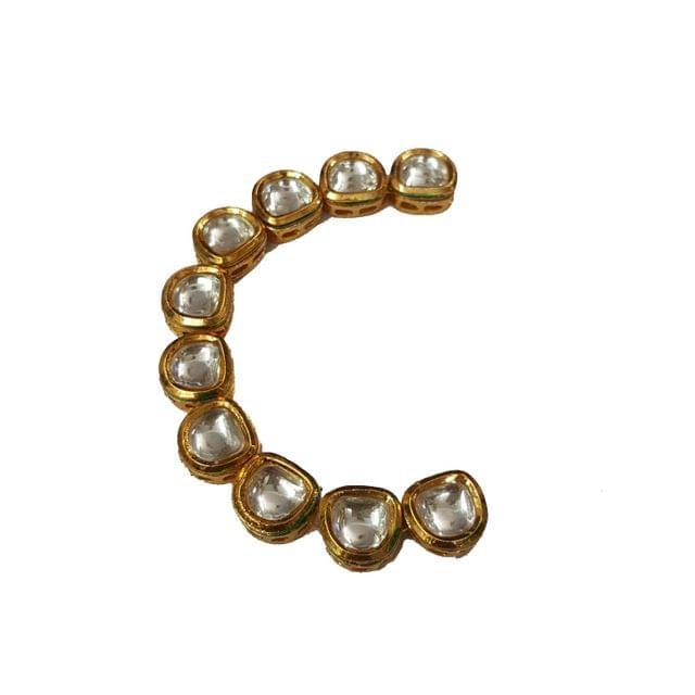 10pcs, 11mm Kundan D Shape Chain