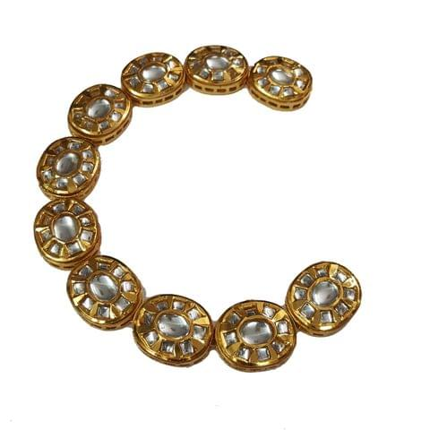 10pcs, 20x24mm Kundan Oval Chain
