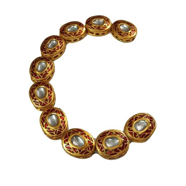 10pcs, 17x22mm Kundan Oval Chain