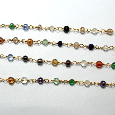 1 Mtr Multi Color Round Glass Beaded Chain 4mm