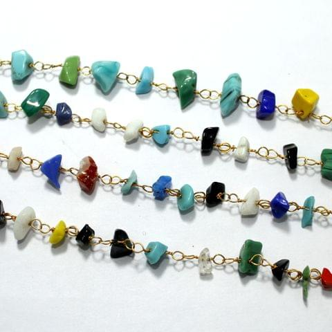 1 Mtr Multicolor Glass Chips Beaded Chain