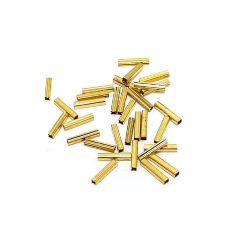 100 Pcs Golden Brass Tube Beads, 11mm