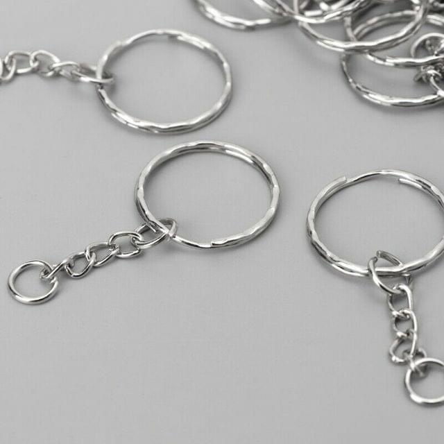 10 Pcs Key Ring With Chain Silver 22mm