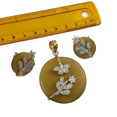 1 pc, AD Stone Pendant- 2 inches, Earrings- 0.75 inches