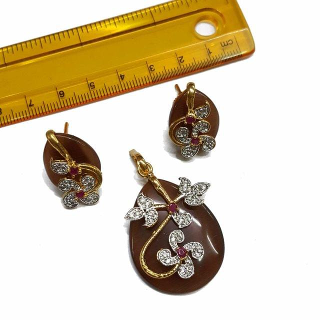 1 pc, AD Stone Pendant- 1.75 inches, Earrings- 0.75 inches