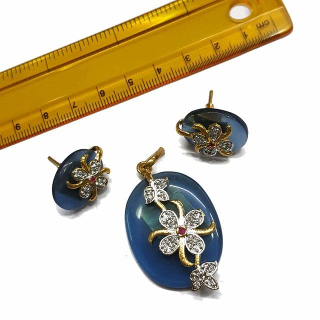1 pc, AD Stone Pendant- 2 inches, Earrings- 1 inch