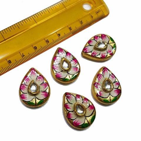 5pcs, 20x26mm Golden Handpainted Beads For Rakhi, Jewellery Making etc