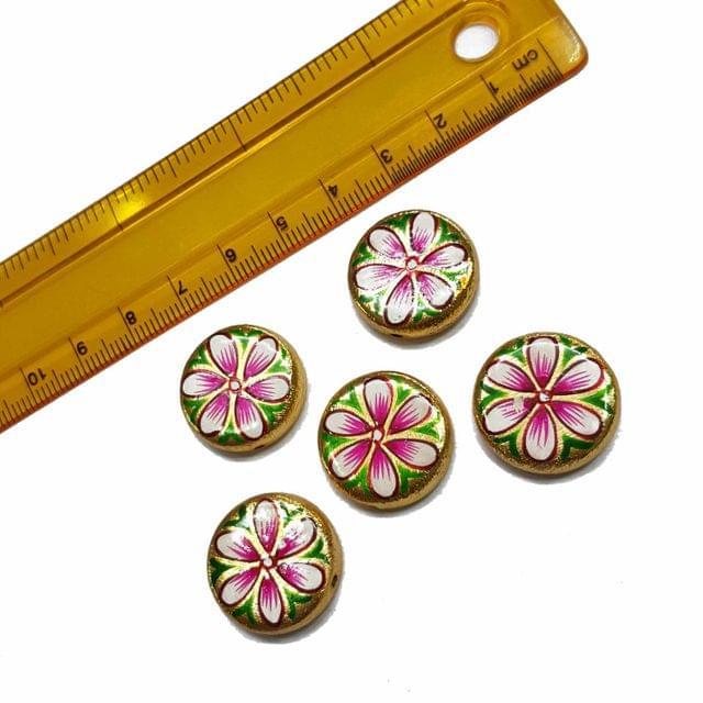 5pcs, 20mm Golden Handpainted Beads For Rakhi, Jewellery Making etc