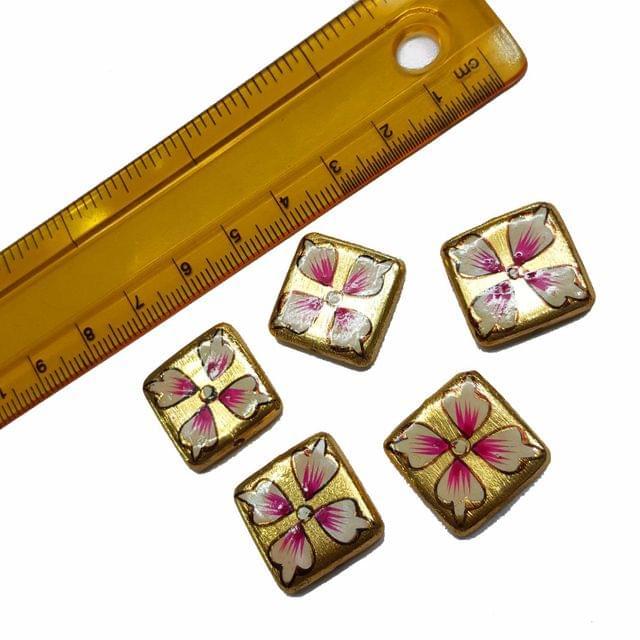 5pcs, 18mm Golden Handpainted Beads For Rakhi, Jewellery Making etc