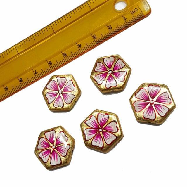 5pcs, 20x23mm Golden Handpainted Beads For Rakhi, Jewellery Making etc