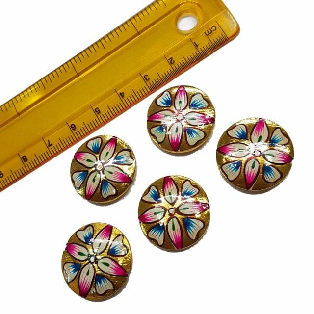 5pcs, 22mm Golden Handpainted Beads For Rakhi, Jewellery Making etc