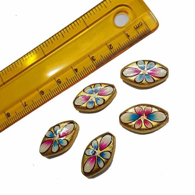 5pcs, 12x20mm Golden Handpainted Beads For Rakhi, Jewellery Making etc