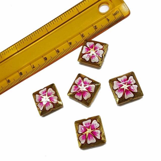 5pcs, 16mm Golden Handpainted Beads For Rakhi, Jewellery Making etc
