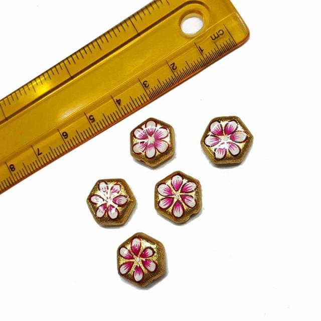 5pcs, 13x15mm Golden Handpainted Beads For Rakhi, Jewellery Making etc