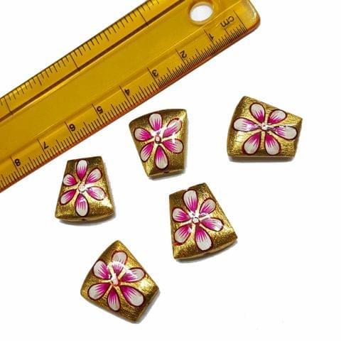 5pcs, 17x18mm Golden Handpainted Beads For Rakhi, Jewellery Making etc