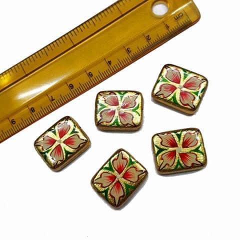 5pcs, 17x20mm Golden Handpainted Beads For Rakhi, Jewellery Making etc