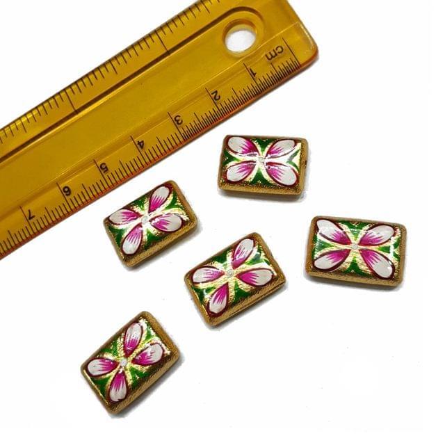 5pcs, 12x18mm Golden Handpainted Beads For Rakhi, Jewellery Making etc