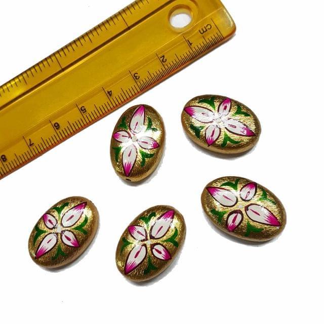 5pcs, 16x24mm Golden Handpainted Beads For Rakhi, Jewellery Making etc