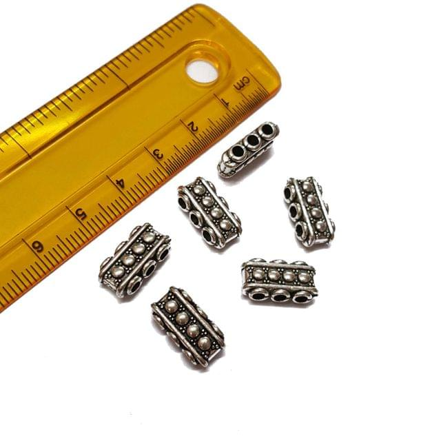 10pcs, 7x15mm, Oxidised Silver Spacer (3 holes)