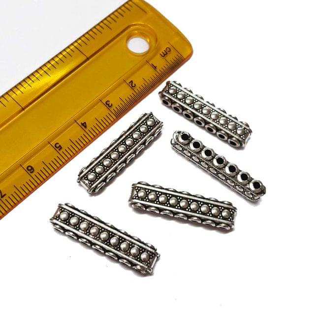 10pcs, 8x30mm, Oxidised Silver Spacer (7 holes )