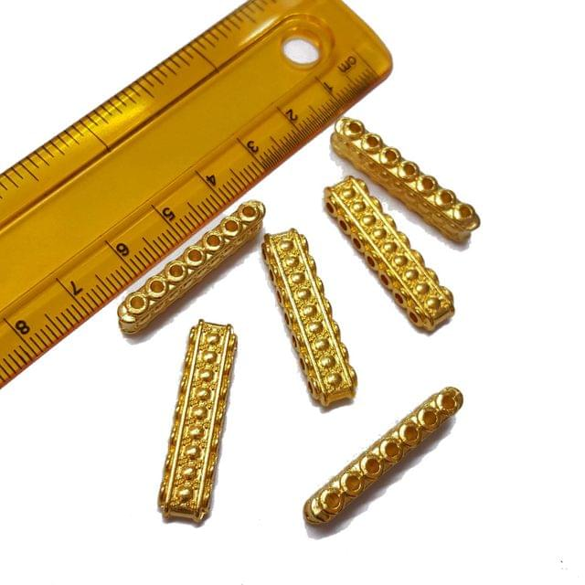 10pcs, 8x30mm, Golden Spacer, (7 holes)