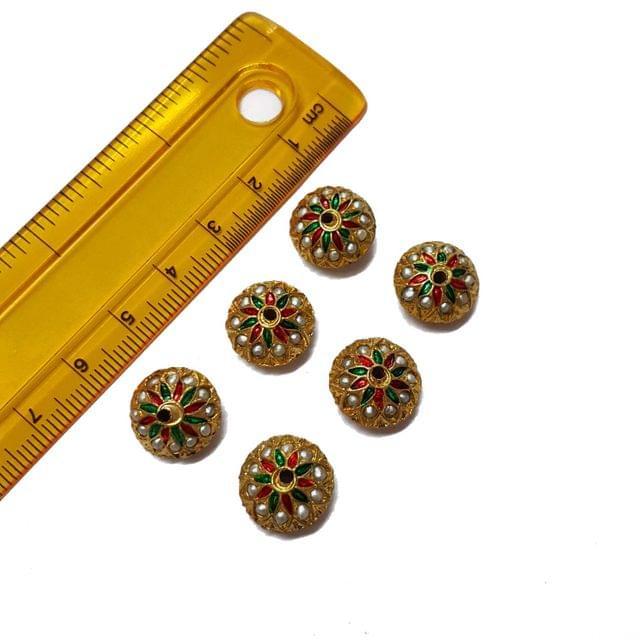 6pcs, 14mm, Jadau Beads