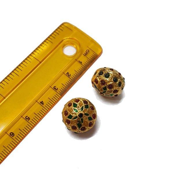 2pcs, 13x15mm, Jadau Beads