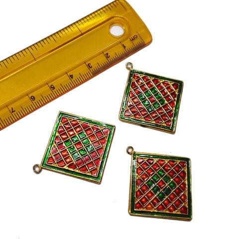 3pcs, 40x35mm, Meenakari Spacer