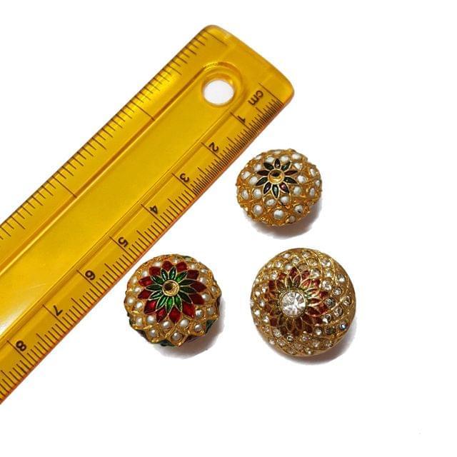 3pcs, 18mm, 20mm, 22mm, Jadau Beads