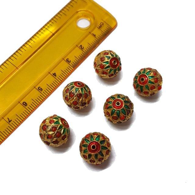 6pcs, 12mm, Moonga Jadau Beads