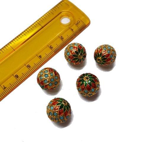 3pcs, 14mm, Turquoise Meenakari Jadau Beads