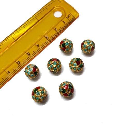 6pcs, 10mm, Turquoise Meenakari Jadau Beads