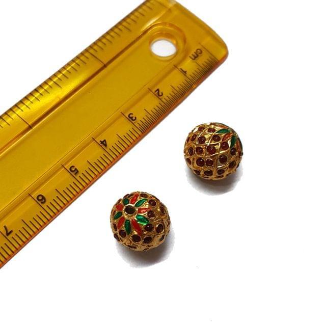 2pcs, 13mm, Red Meenakari Jadau Beads
