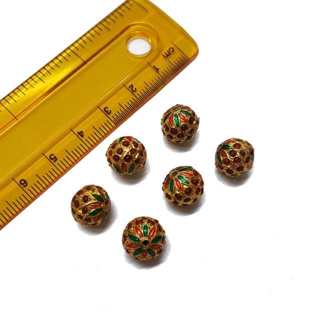 4pcs, 10mm, Red Meenakari Jadau Beads