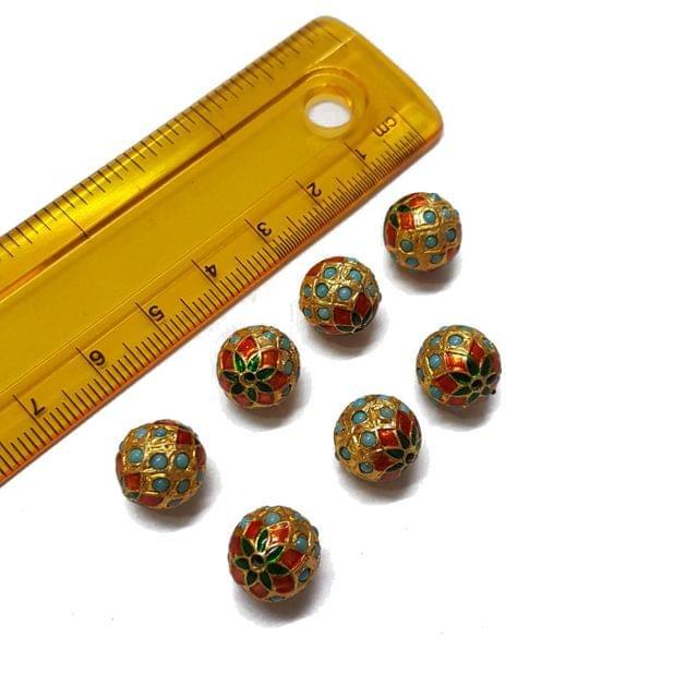 7pcs, 10mm, Turquoise Meenakari Jadau Beads