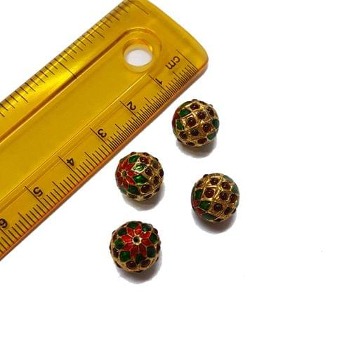 4pcs, 10mm, Maroon Meenakari Jadau Beads