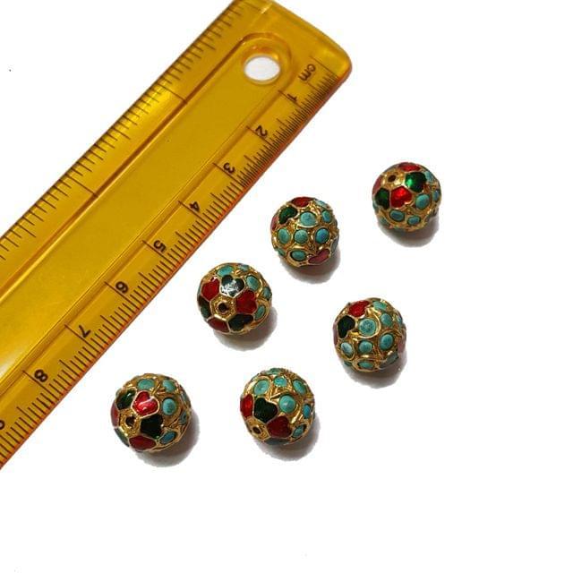 3pcs, 12mm, Turquoise Meenakari Jadau Beads