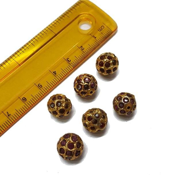 6pcs, 10mm, Maroon Jadau Beads