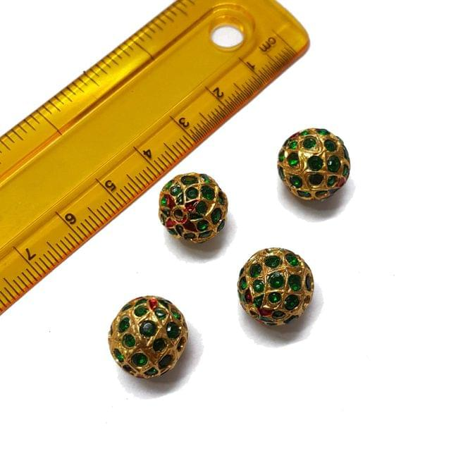 4pcs, 14mm, Green Meenakari Jadau Beads