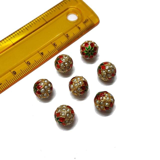 3pcs, 10mm, Pearl Meenakari Jadau Beads