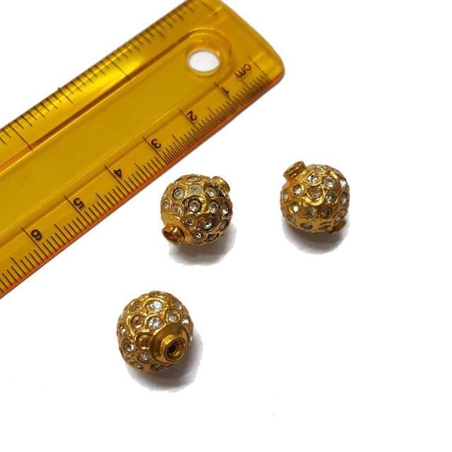 3pcs, 14x15mm, White Jadau Beads