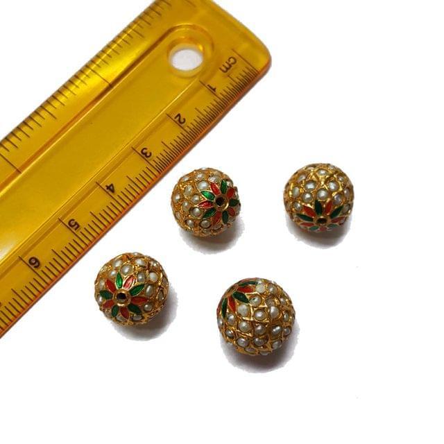 4pcs, 13mm, Pearl Meenakari Jadau Beads