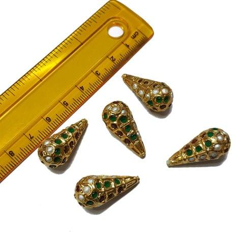 5pcs, 12x25mm, Multi Jadau Drop Beads