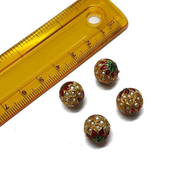 4pcs, 12mm, Pearl Meenakari Jadau Beads