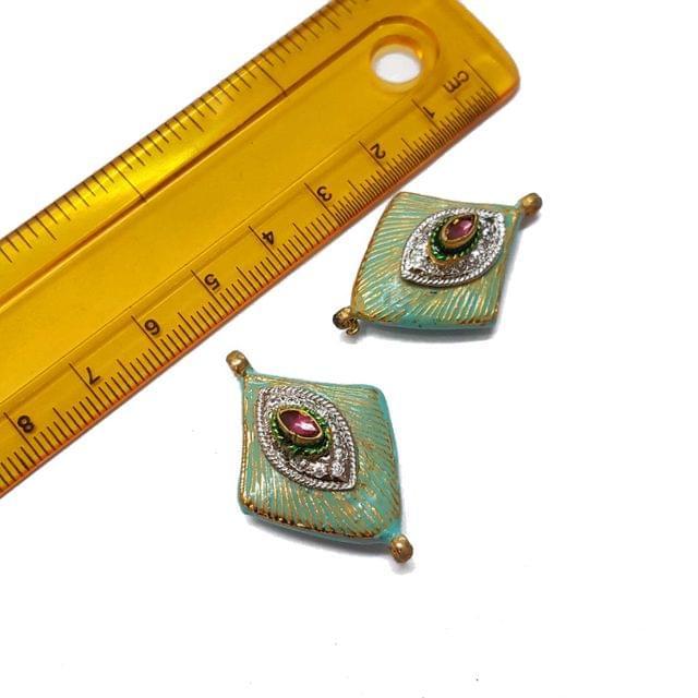 2pcs, 23x34mm, Blue AD Meenakari Beads