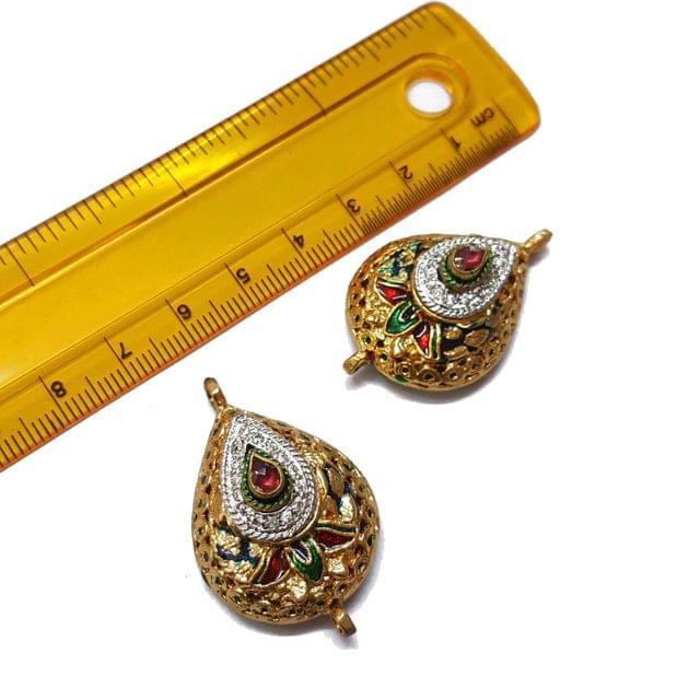 2pcs, 24x38mm, Multi AD Meenakari Beads